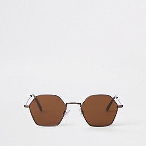 Jeepers Peepers - Bruinbronzen zonnebril zeshoekig montuur