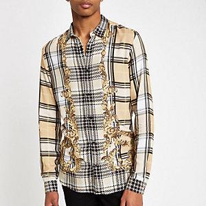 Jaded London – Beiges Barock-Hemd mit Karomuster