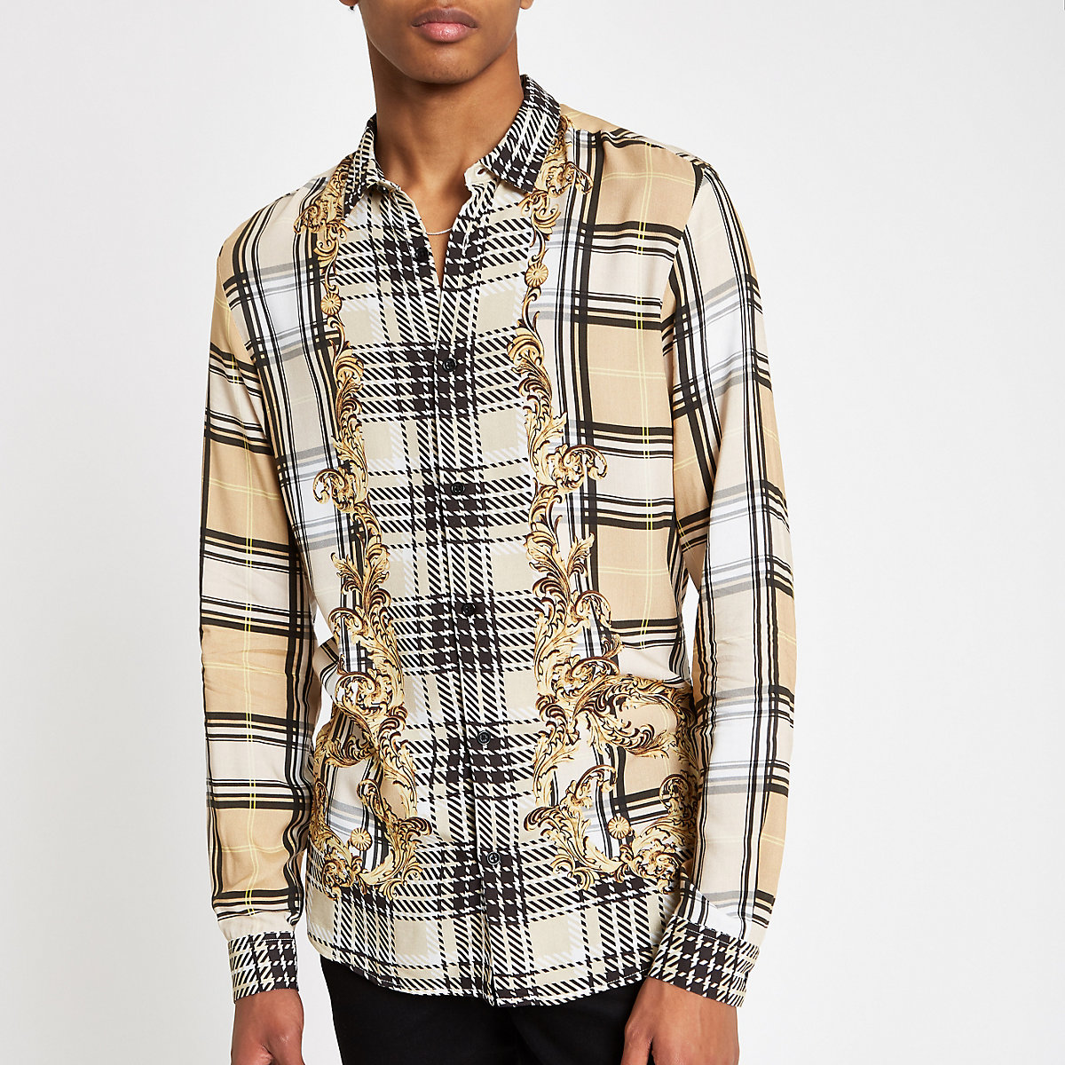 Jaded London beige check baroque shirt
