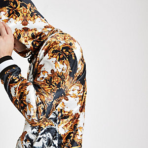 Jaded London - Zwarte fluwelen hoodie met barokprint
