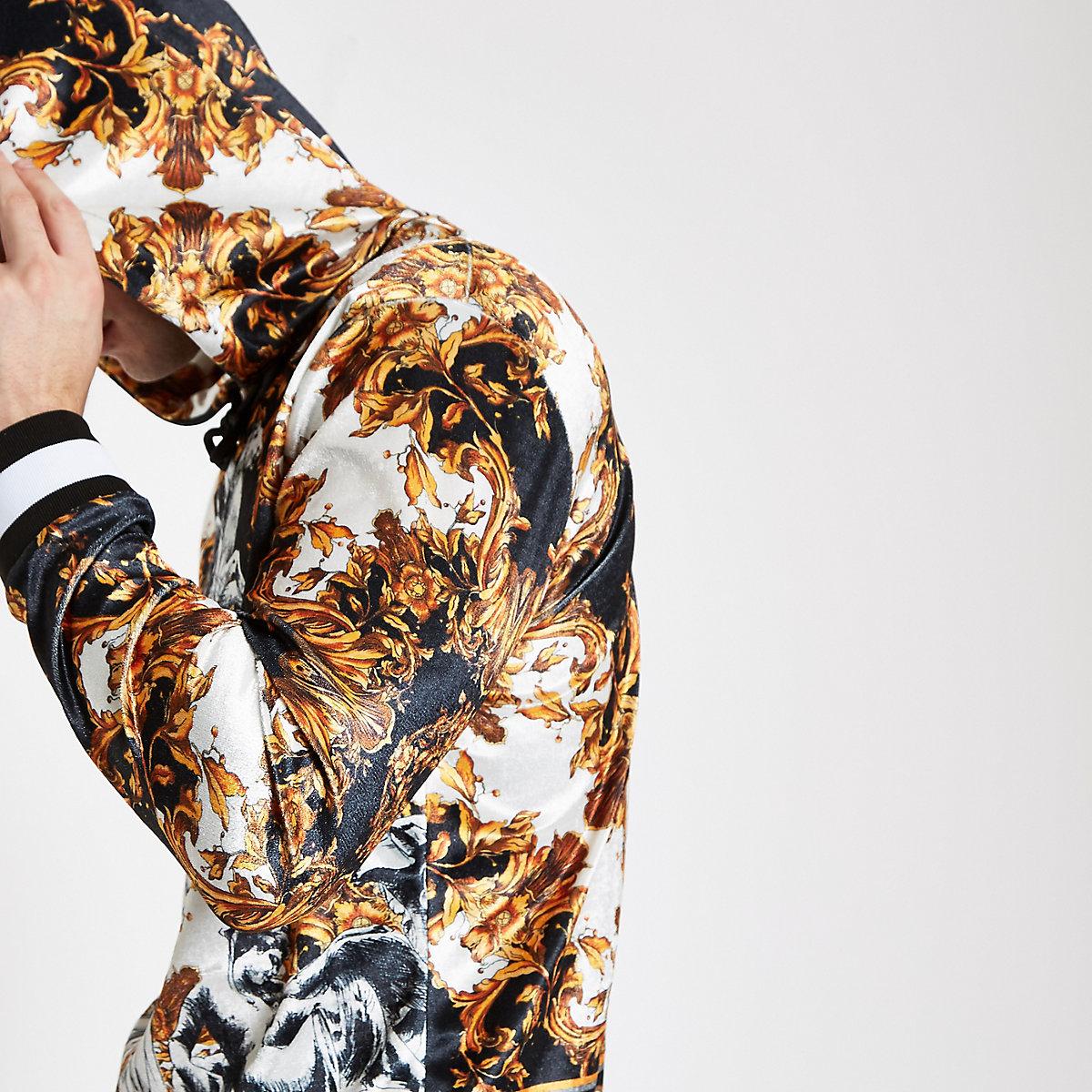 Jaded London black velvet baroque hoodie