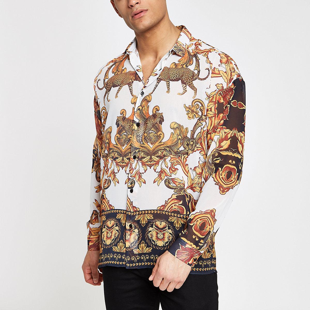 Jaded London white leopard baroque shirt