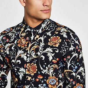 Jaded London - Zwart gebloemd overhemd met lange mouwen