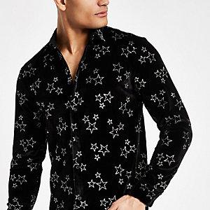 Jaded black velvet star print shirt