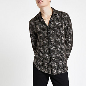 Jaded London - Zwart overhemd  met paisleyprint en glitter