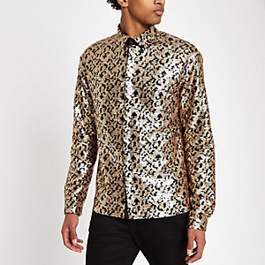 Jaded London black leopard print sequin shirt