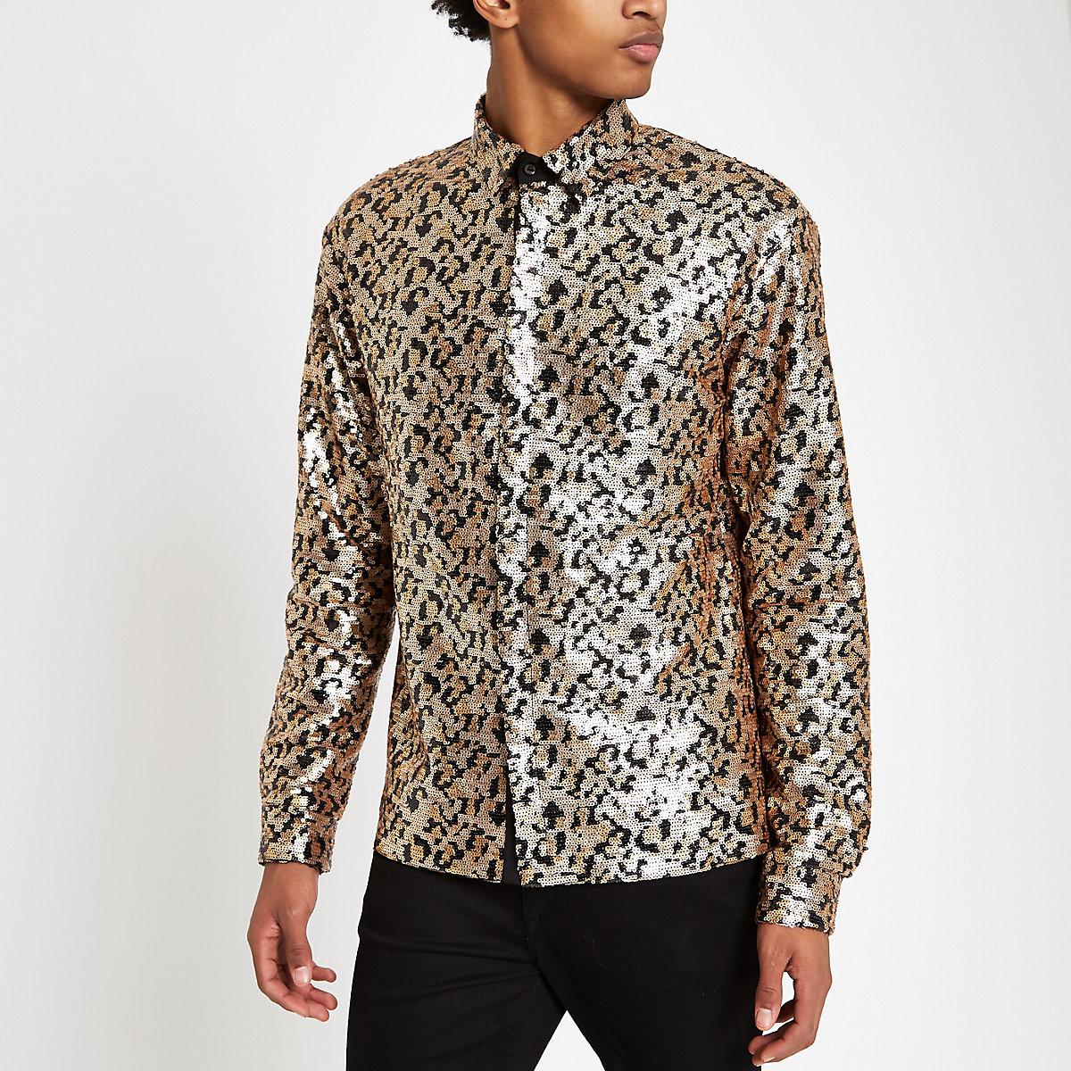 Jaded London black leopard print sequin shirt
