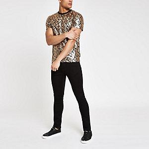 Jaded London - Zwart T-shirt met luipaardprint en lovertjes