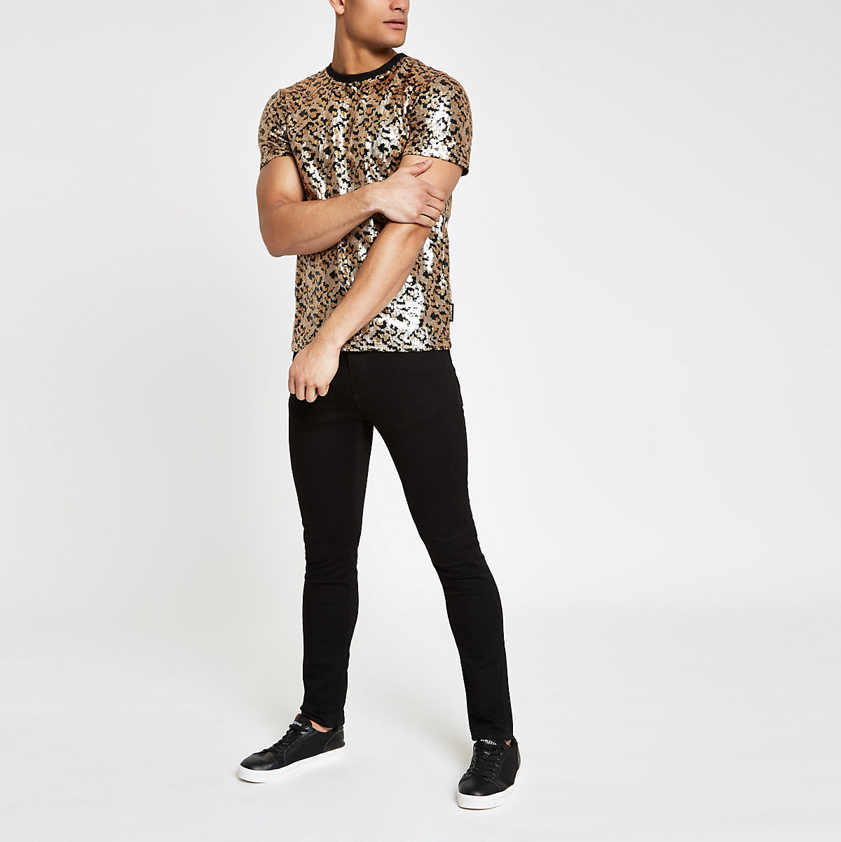 Jaded London black leopard sequin T-shirt