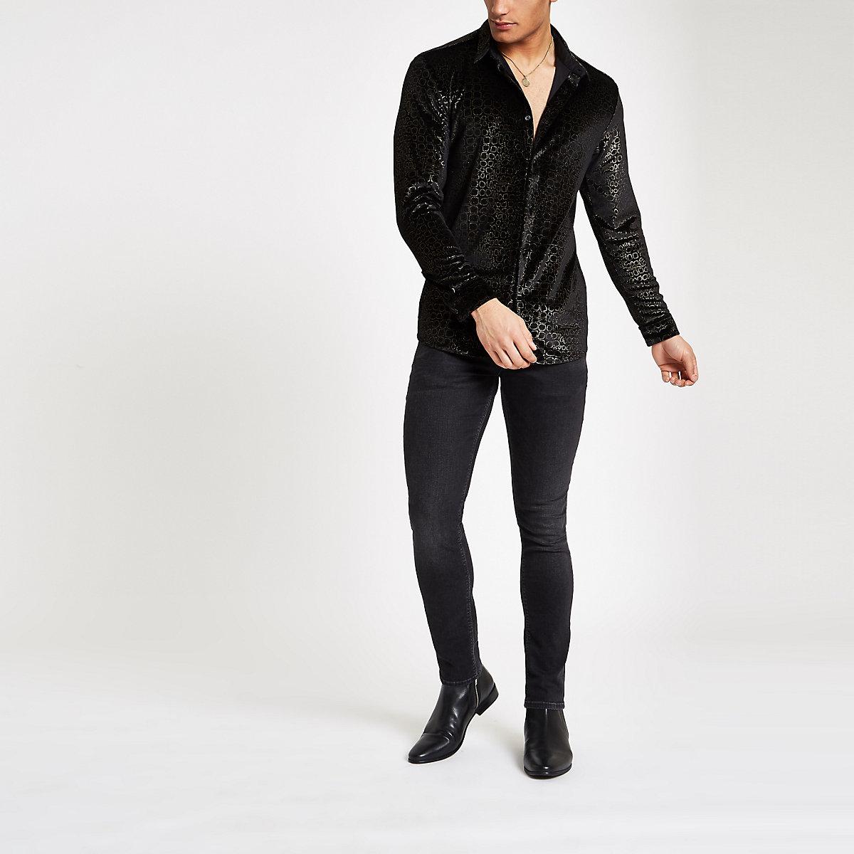 Jaded black velvet croc shirt