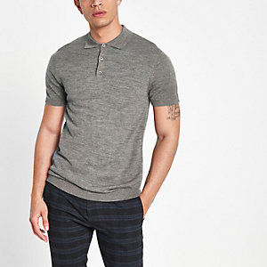 Selected Homme grey knitted polo shirt