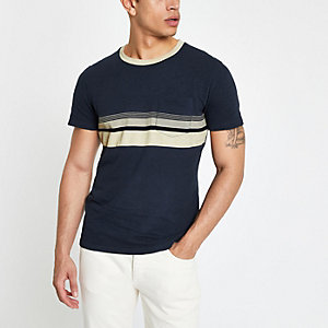 Selected Homme – Marineblaues T-Shirt in Blockfarben