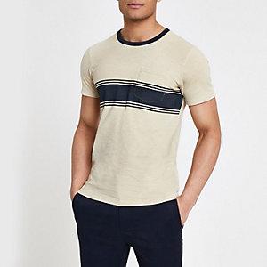 Selected Homme – Beiges T-Shirt mit Brusttasche