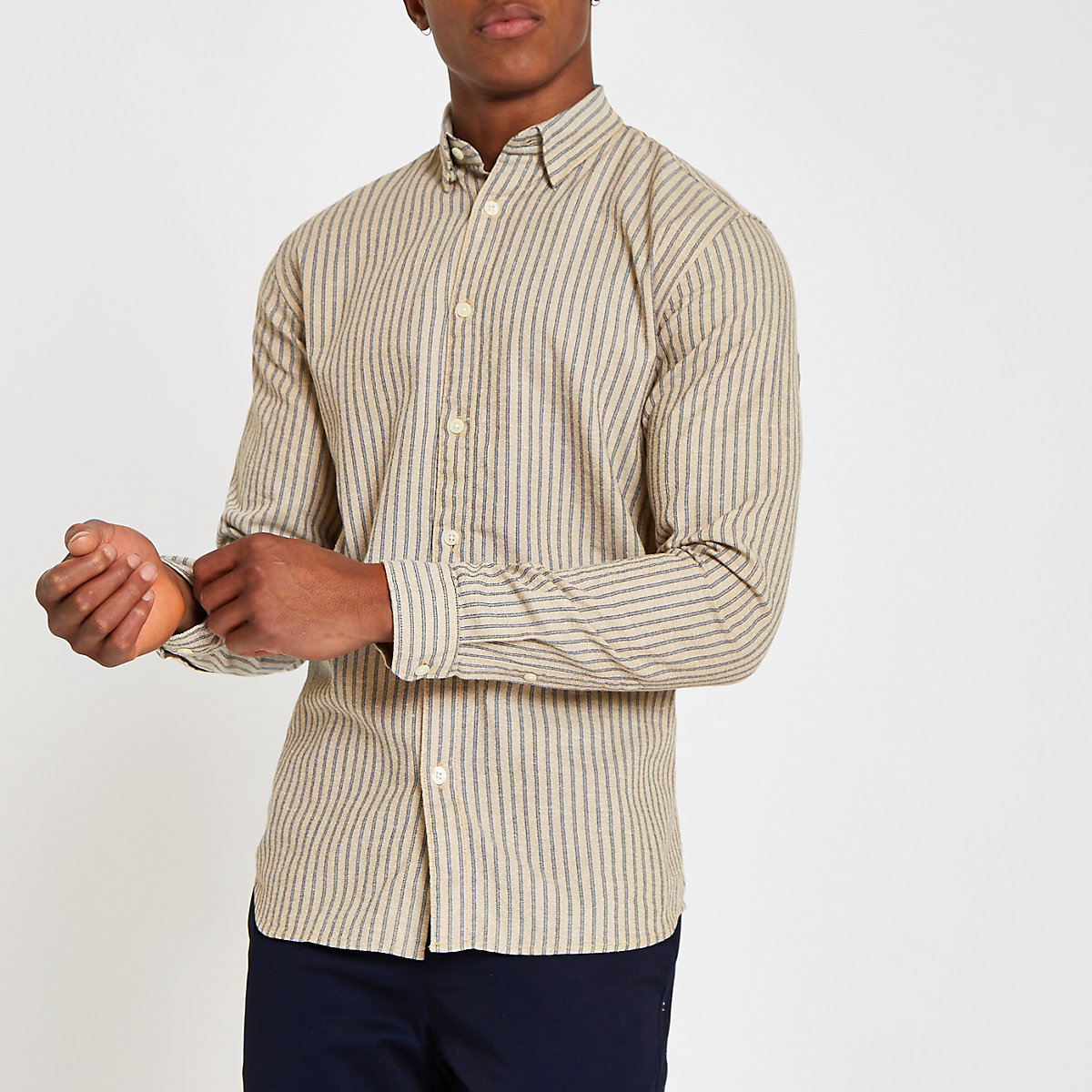 Selected Homme grey striped shirt