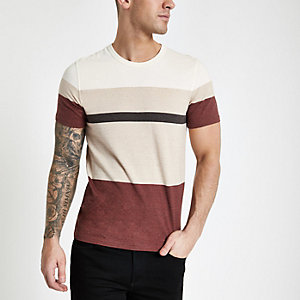 Selected Homme burgundy block T-shirt