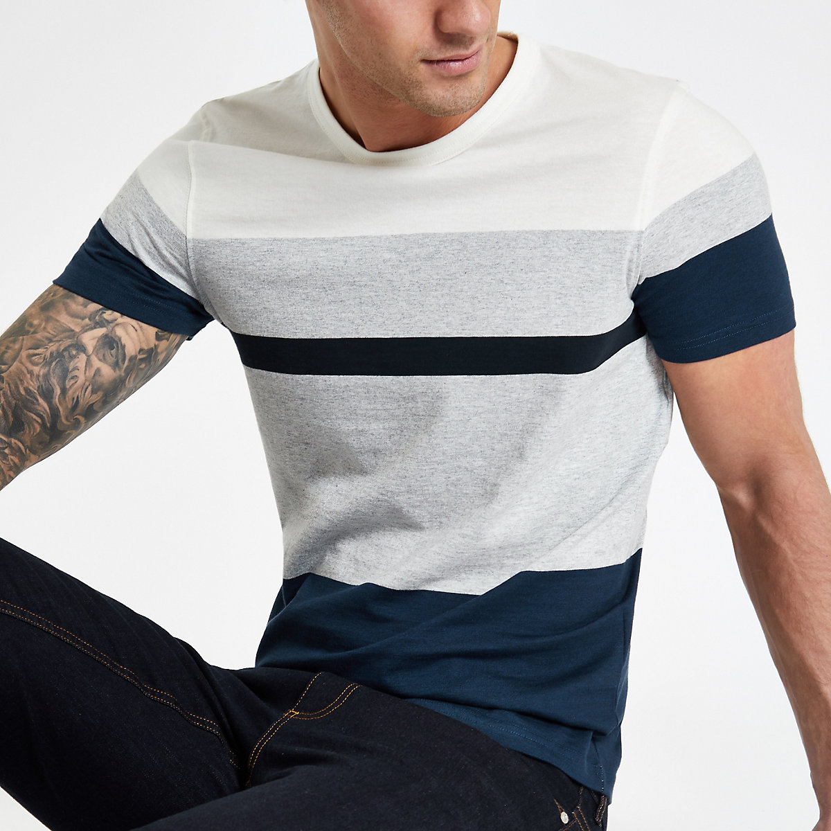 Selected Homme navy block T-shirt