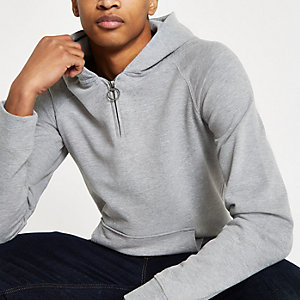 Selected Homme grey zip up hoodie