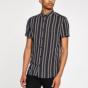 Black stripe and aztec print shirt