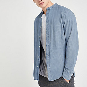 Selected Homme blue grandad collar shirt
