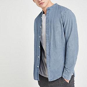 Selected Homme blue grandad collar shirt