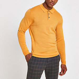 Selected Homme yellow knit polo shirt