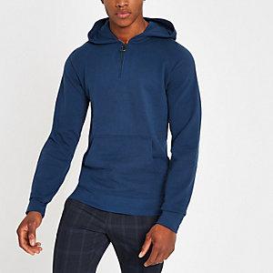 Selected Homme – Blauer Hoodie aus Bio-Baumwolle