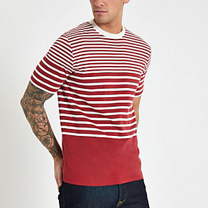 Selected Homme – Rotes, gestreiftes T-Shirt