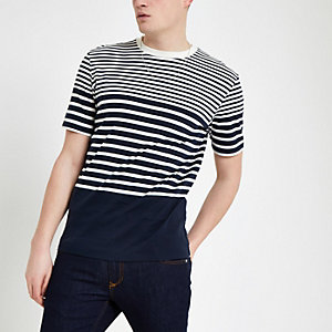 Selected Homme – T-shirt rayé bleu marine