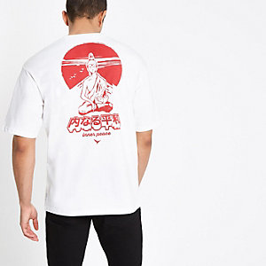 Only & Sons white Jako boxy T-shirt