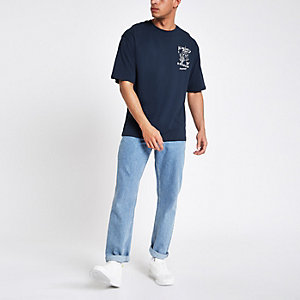 Only & Sons – Jako – T-shirt coupe carrée bleu