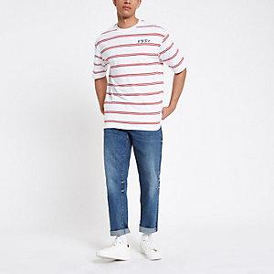 Only & Sons – Weißes T-Shirt mit Streifen
