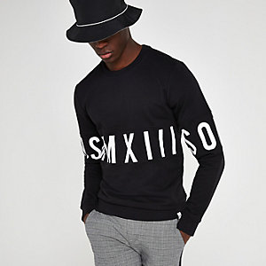 Only & Sons black printed sweatshirt