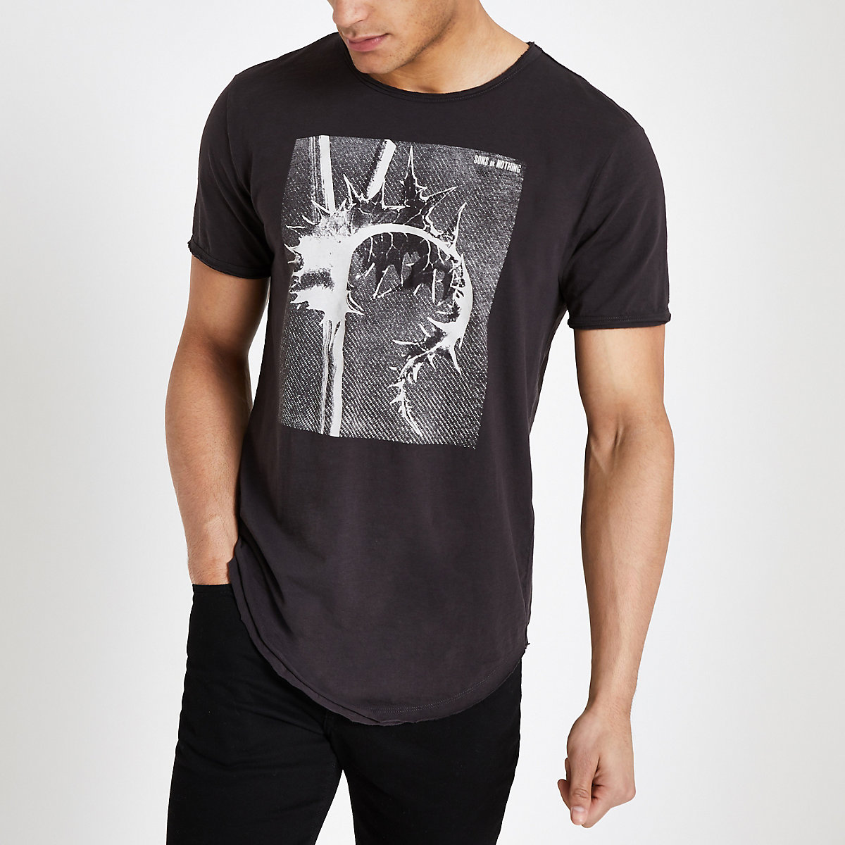 Only & Sons black raw hem T-shirt