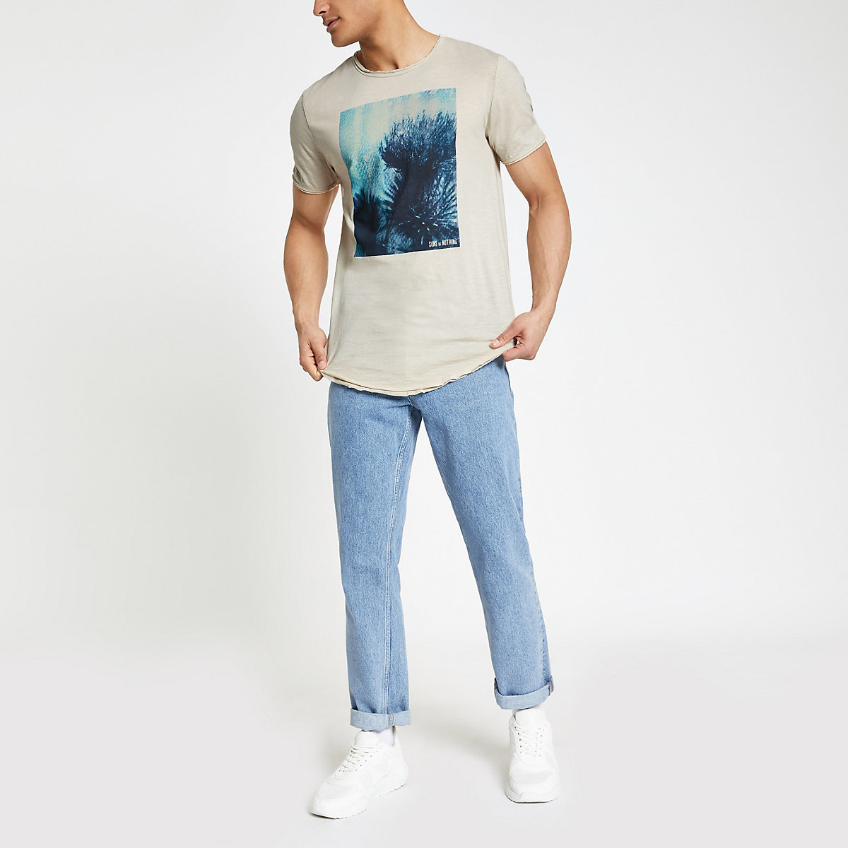 Only & Sons white raw hem T-shirt