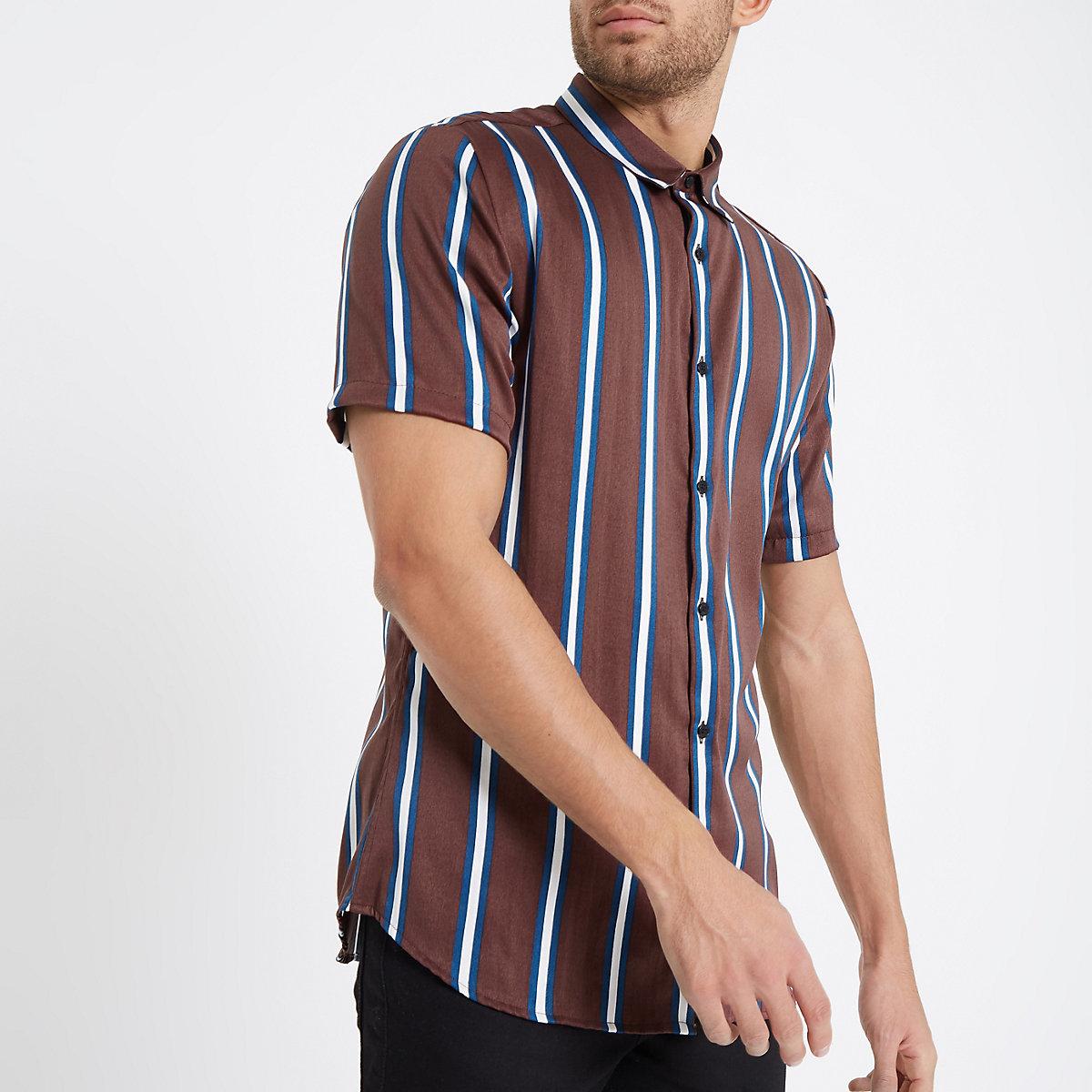 Brown stripe print short sleeve shirt