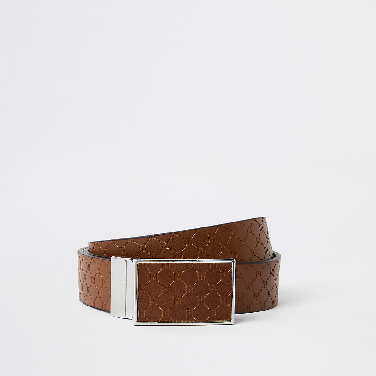 Tan monogram reversible plate buckle belt