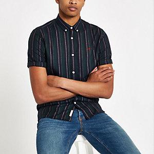 Green stripe button down collar shirt