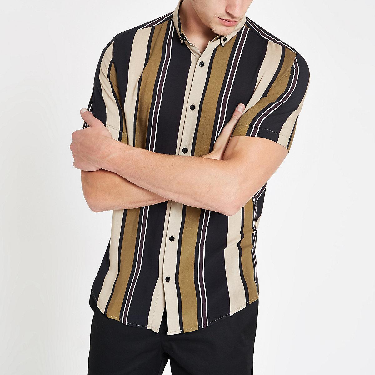 Stone stripe button-down collar shirt