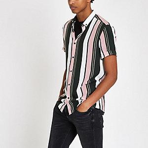 Gestreiftes Kurzarmhemd in Grün und Pink
