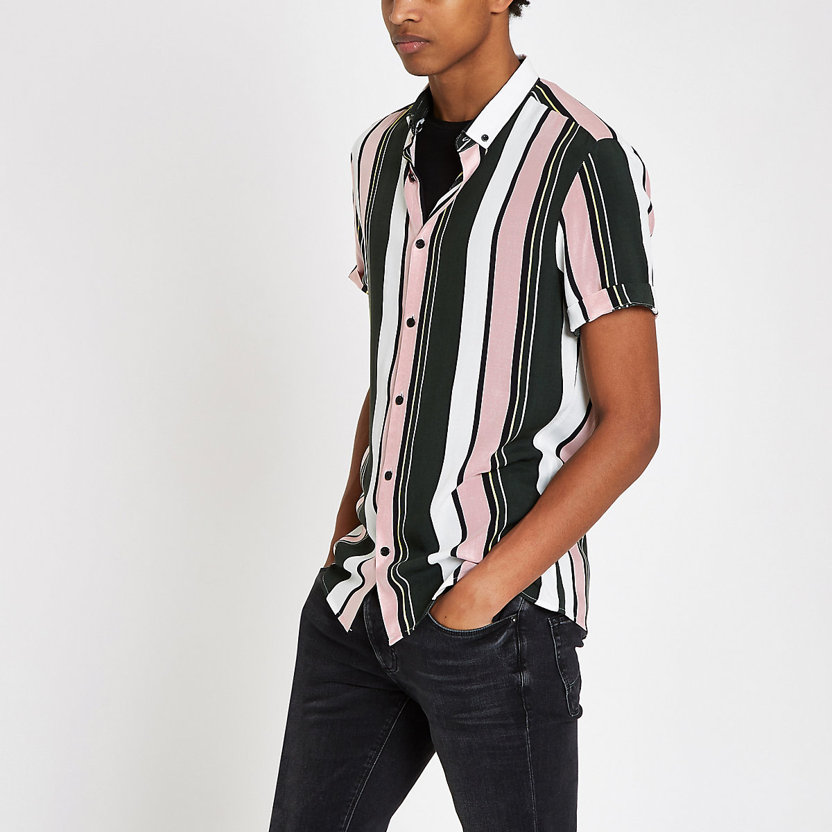 Green and pink stripe short sleeve shirt