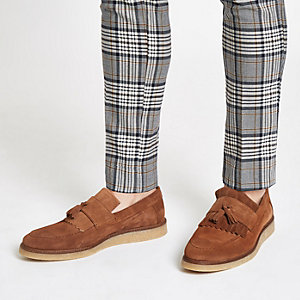 Bruine suède loafers met franje