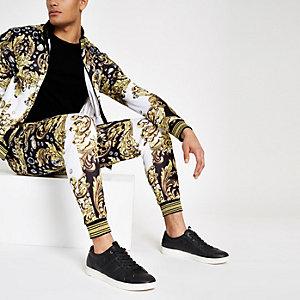 Jaded London - Zwarte joggingbroek met barokprint en siersteentjes