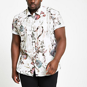 Big and Tall - Ecru slim-fit overhemd met bloemenprint
