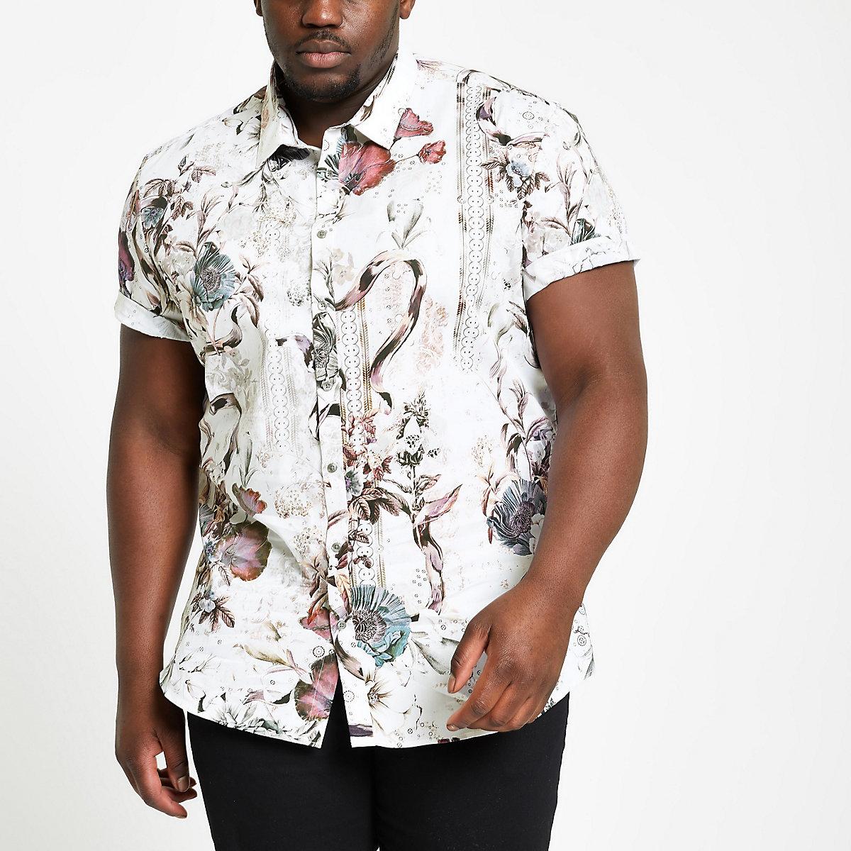 Big and Tall ecru slim fit floral shirt
