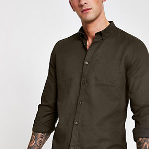 Langarmhemd in Khaki aus Leinen