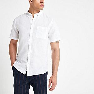 Weißes Kurzarmhemd aus Leinen