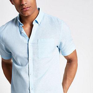 Lichtblauw linnen overhemd met korte mouwen
