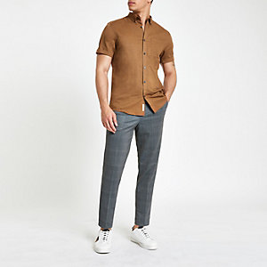 Brown linen long sleeve shirt
