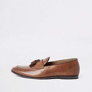 Bruine loafers met kwastjes
