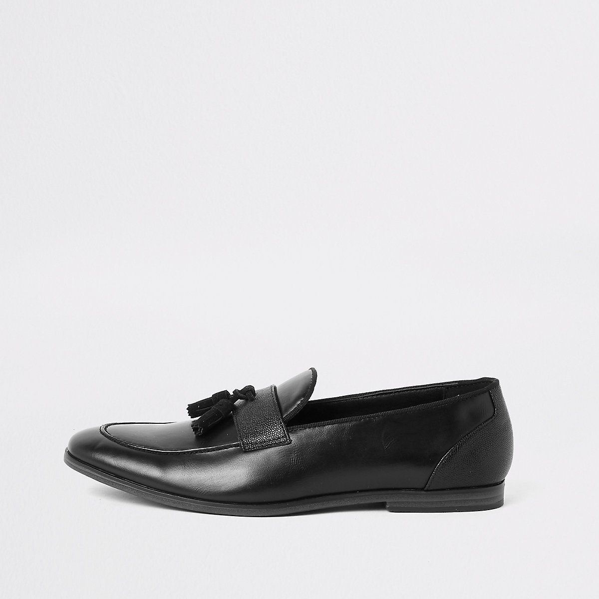 Black tassel front loafers